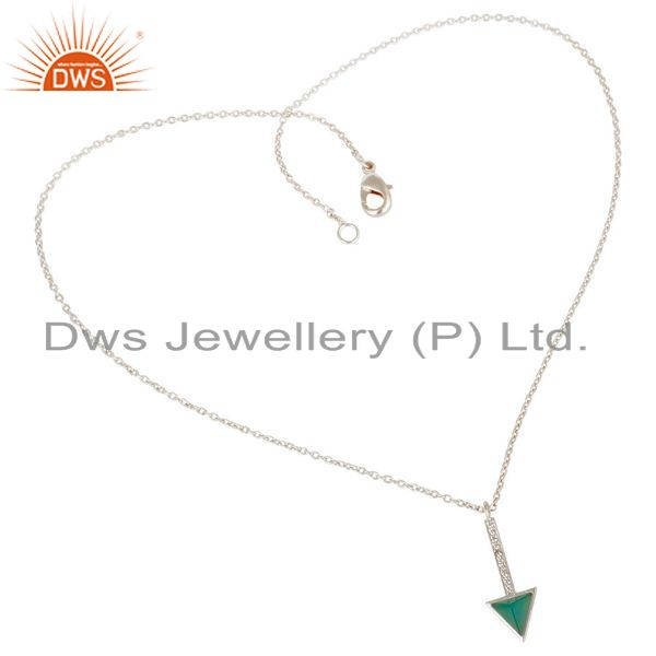 Exporter Green Onyx Triangle Cut 92.5 Sterling Silver Chain Pendent,Long Pendent