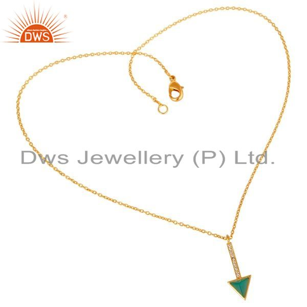 Exporter Green Onyx Triangle Cut 14 K Gold Plated 92.5 Sterling Silver Chain Pendent