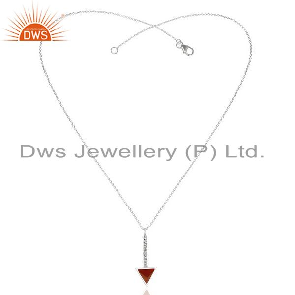 Exporter Red Onyx Triangle Cut 92.5 Sterling Silver Chain Pendent,Long Pendent