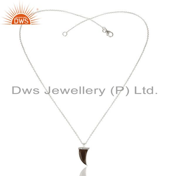 Exporter Smoky Horn Cz Studded Chain 92.5 Sterling Silver Pendent,Trendy Pendent Jewelry