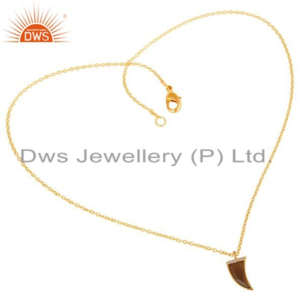 Exporter Smoky Topaz Horn Cz Studded 14 K Gold Plated chain 92.5 Sterling Silver Pendent