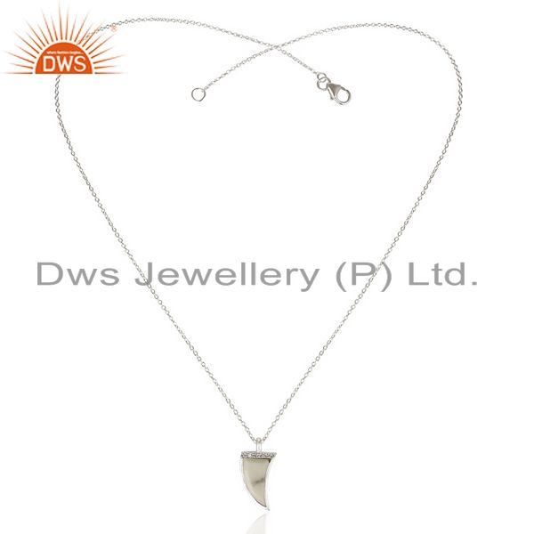 Exporter Howlite Horn Cz Studded Chain 92.5 Sterling Silver Pendent TrendyJewelry