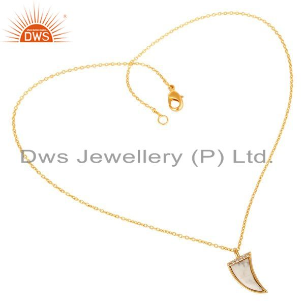 Exporter Howlite Horn Cz Studded 14 K Gold Plated chain 92.5 Sterling Silver Pendent