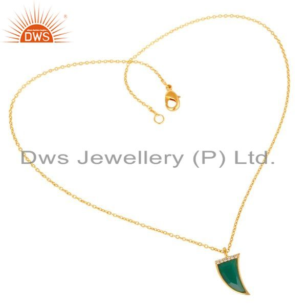 Exporter Green Onyx Horn Cz Studded 14 K Gold Plated chain 92.5 Sterling Silver Pendent