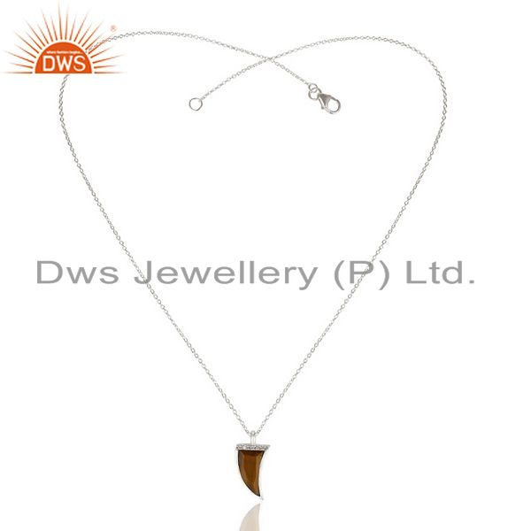 Exporter Tigereye Cz Studded Chain 92.5 Sterling Silver Pendent,Trendy Pendent Jewelry