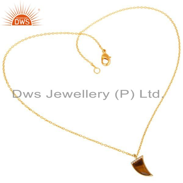 Exporter Tigereye Horn Cz Studded 14 K Gold Plated chain 92.5 Sterling Silver Pendent