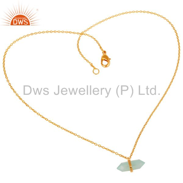 Supplier of Aqua Chalcedony Terminated Pencil Gold Plated Sterling Silver Pendent Jewelry