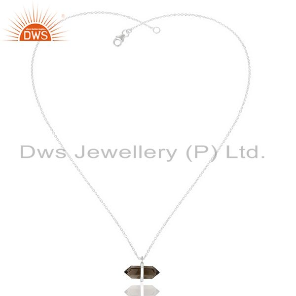Exporter Smoky Topaz Terminated Pencil 92.5 Sterling Silver Pendent Wholesale Jewelry
