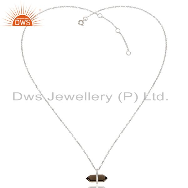 Exporter Smoky Topaz Terminated Pencil 925 Sterling Silver Pendent Wholesale Jewelry