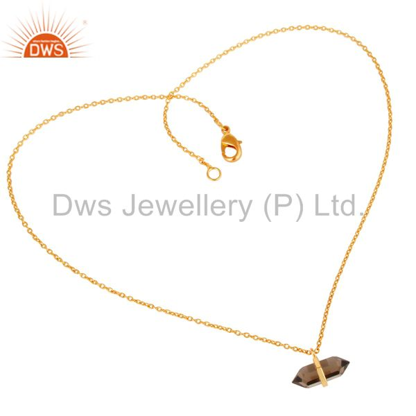 Exporter Smoky Topaz Terminated Pencil Gold Plated Sterling Silver Pendent Jewelry