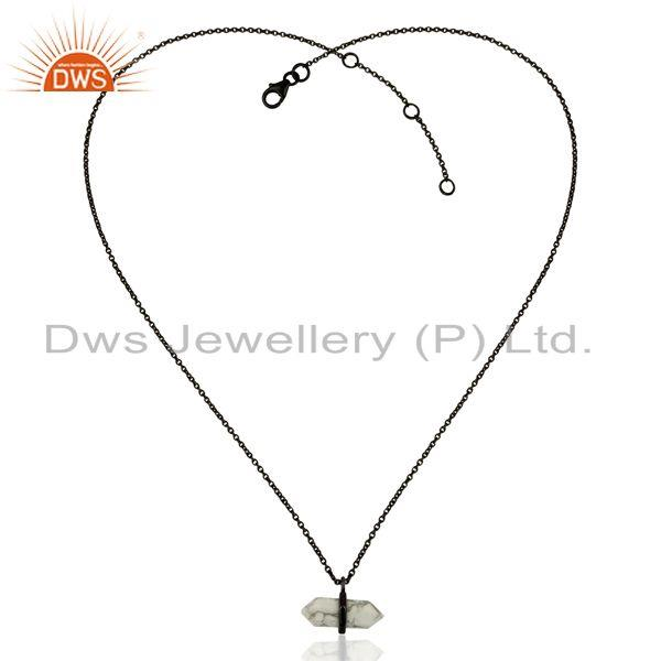 Exporter Black Rhodium Plated Silver Howlite Gemstone Fashion Pendant Jewelry