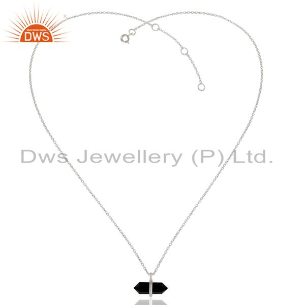 Exporter Black Onyx Terminated Pencil 92.5 Sterling White Rhodium Plated Silver Pendent