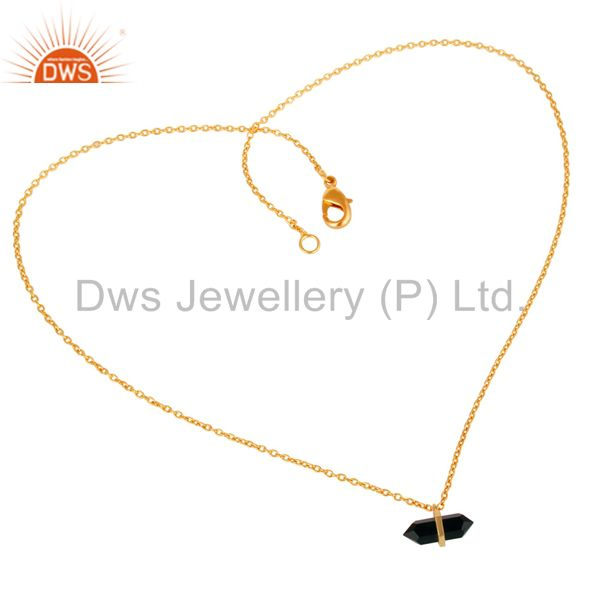 Exporter Black Onyx Terminated Pencil Gold Plated Sterling Silver Pendent Jewelry