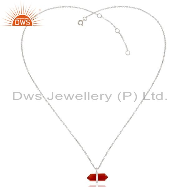 Exporter Red Onyx Terminated Pencil 925 Sterling Silver Pendent Wholesale Jewellery