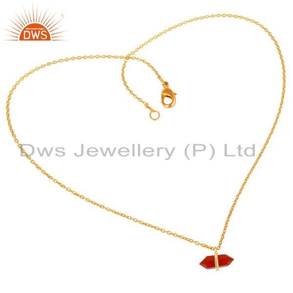 Exporter Red Onyx Terminated Pencil Gold Plated Sterling Silver Pendent Jewelry