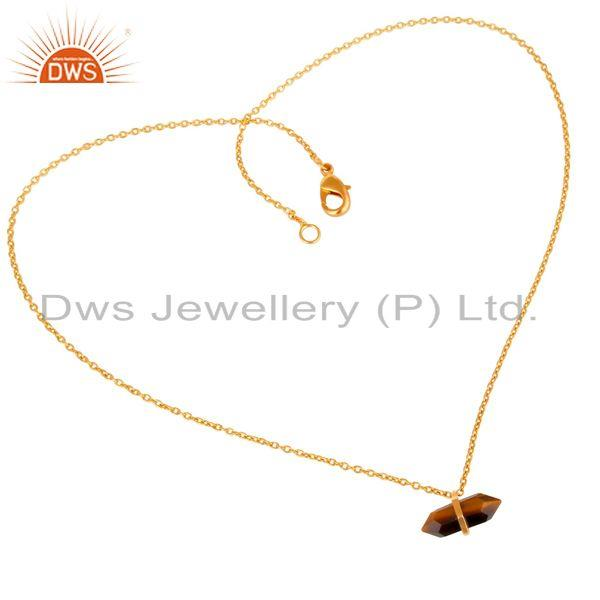 Exporter Tigereye Terminated Pencil Gold Plated Sterling Silver Pendent Jewelry