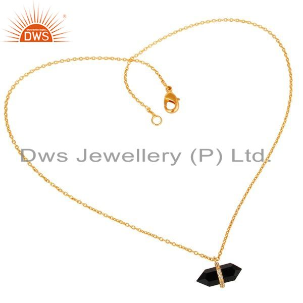 Exporter Black Onyx Terminated Pencil Cz Studded 14K Gold Plated Silver Pendent
