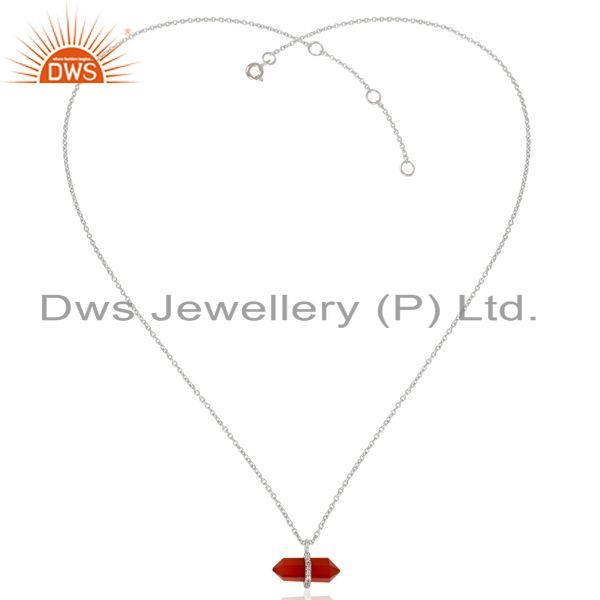 Exporter Red Onyx Terminated Pencil Cz Studded 925 Sterling Silver Chain Pendent