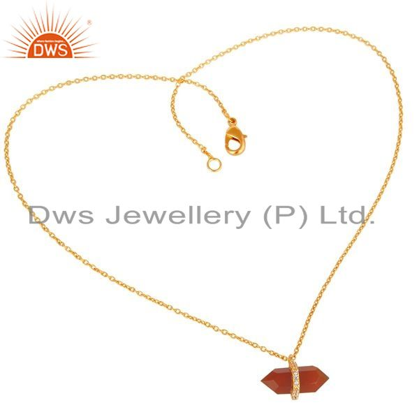Exporter Red Onyx Terminated Pencil Cz Studded 14K Gold Plated Silver Pendent
