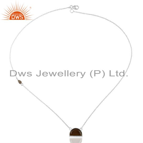Manufacturer of Smoky Topaz Half Moon Cz Studded 92.5 Sterling Silver Wholesale Pendent