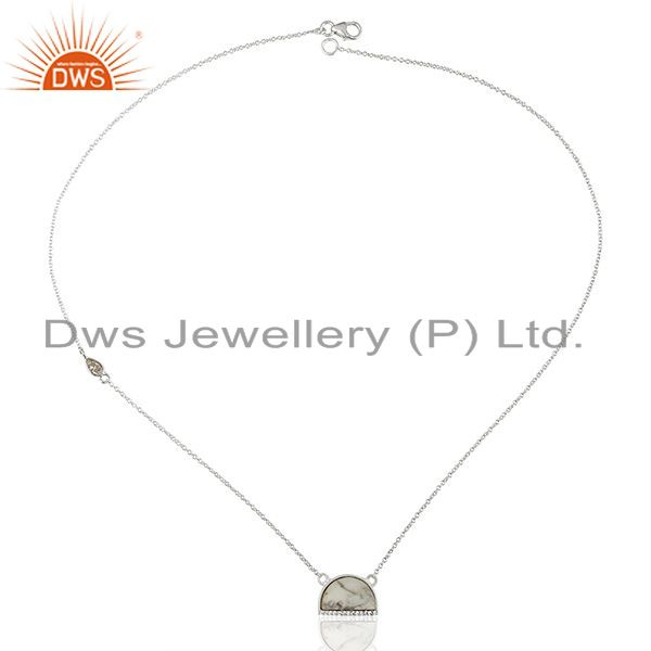 Exporter Howlite Half Moon Cz Studded 92.5 Sterling Silver Wholesale Pendent