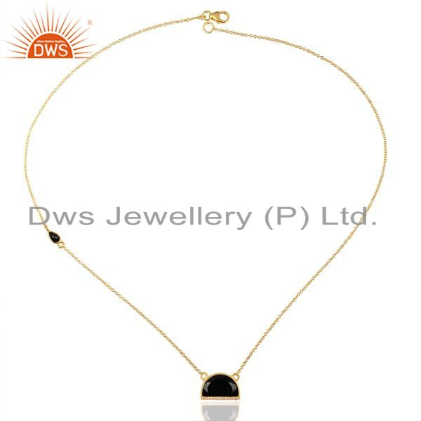Exporter Black Onyx Half Moon Cz Studded 14K Gold Plated Sterling Silver Pendent