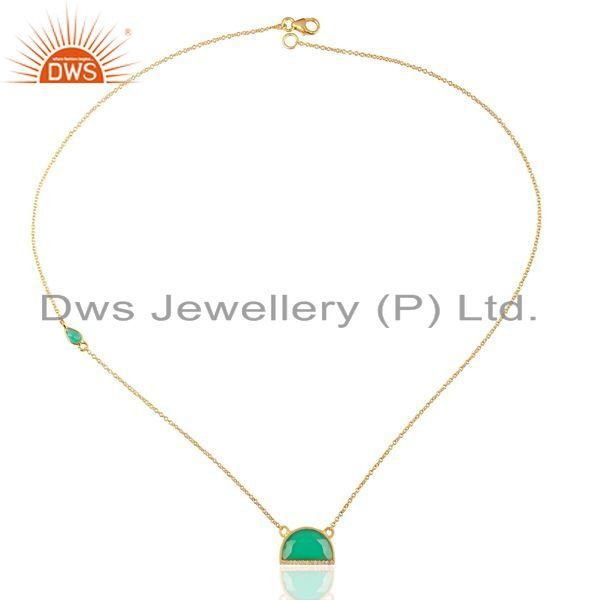 Exporter Green Onyx Half Moon Cz Studded 14K Gold Plated Sterling Silver Pendent