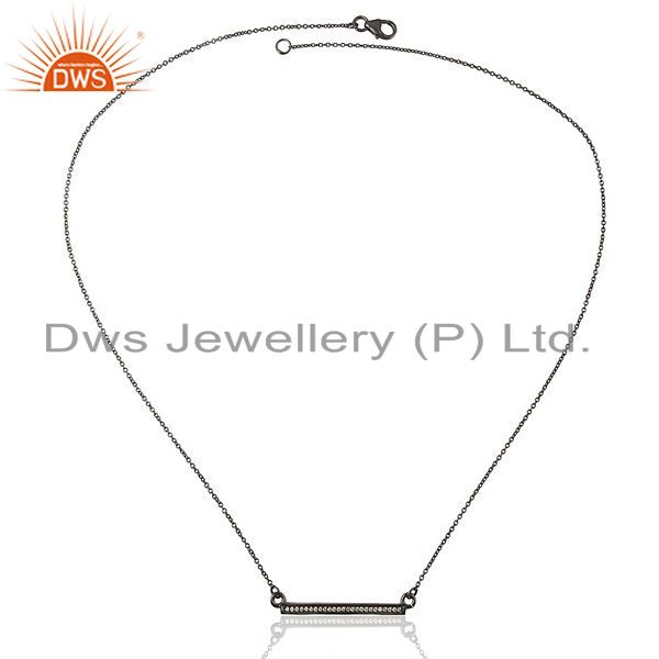 Exporter White Cz Studded Long Bar Necklace Black Rhodium Plated 92.5 Silver Necklace