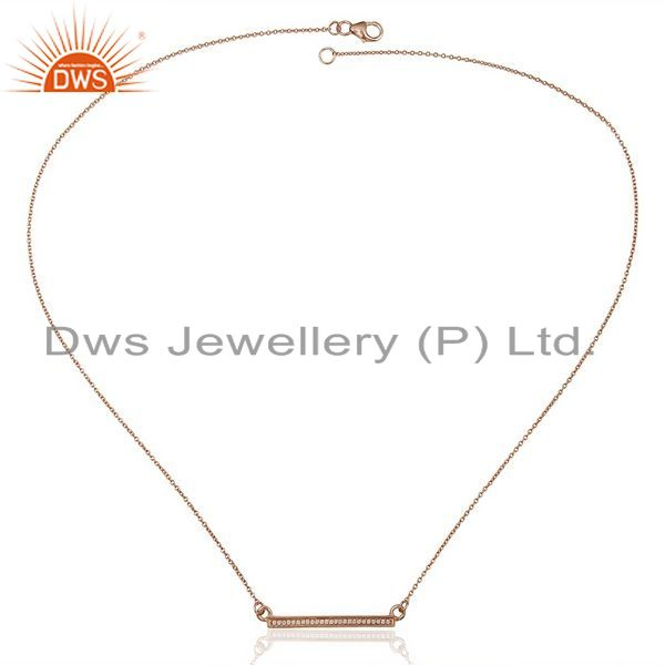Supplier of White Cz Studded Long Bar Necklace Rose Gold Plated Sterling Silver Necklace