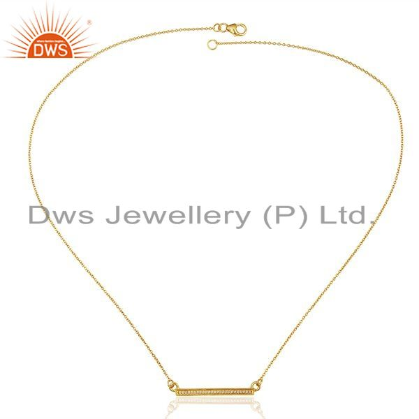 Exporter White Cz Studded Long Bar Necklace Gold Plated 92.5 Sterling Silver Necklace