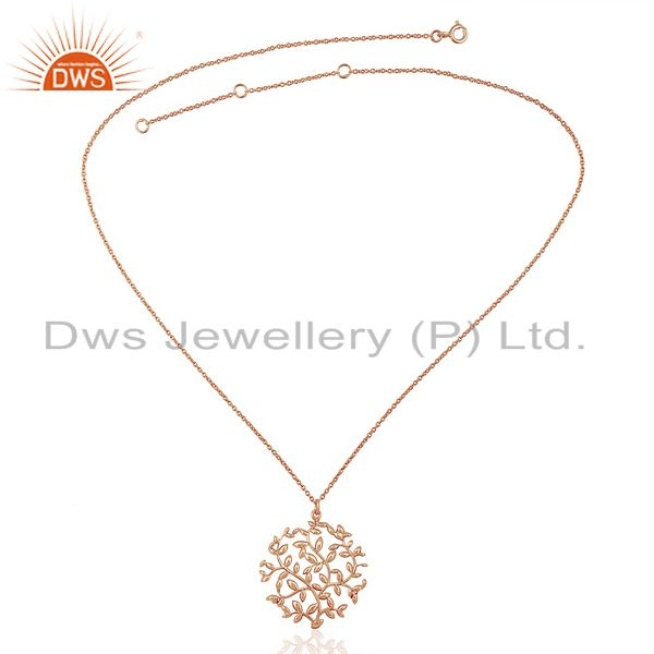 Supplier of Olive Leaf Medallion Rose Gold Plated 92.5 Sterling Silver Jewelry Pendent