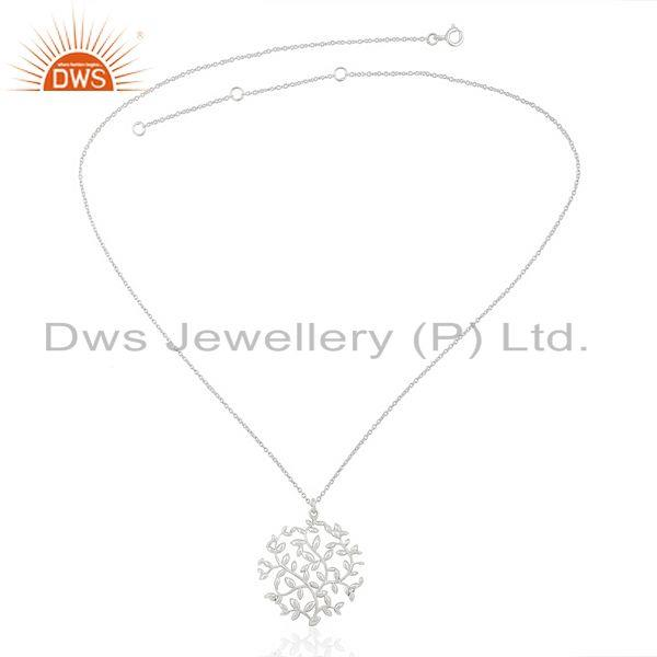 Wholesale Olive Leaf Medallion White Rhodium Plated 92.5 Sterling Silver Jewelry Pendent