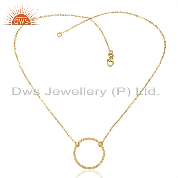 Exporter Round Shape Simple Wholesale Gold Plated 92.5 Sterling Silver Wholesale Pendent