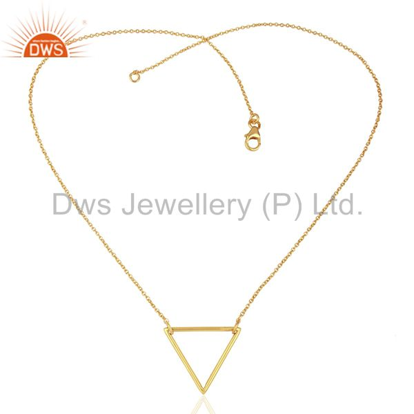 Exporter Triangle Shape Simple Wholesale Gold Plated Sterling Silver Wholesale Pendent