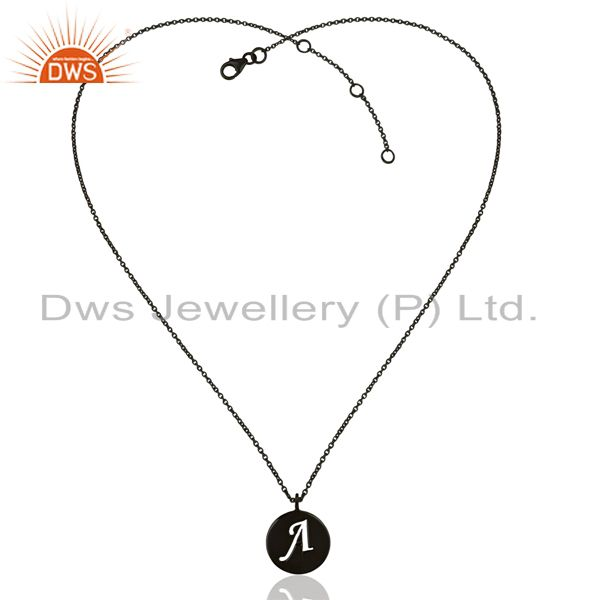 Exporter Black Oxidized 925 Sterling Silver A Alphabet Chain Pendant Jewelry
