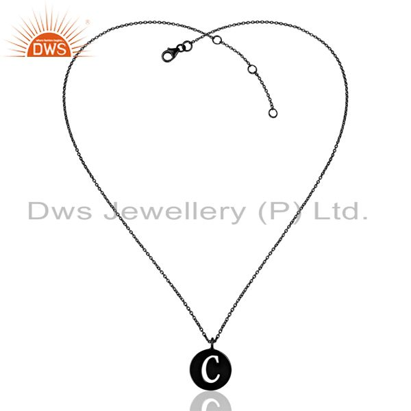 Exporter Black Oxidized 925 Sterling Silver C Alphabet Chain Pendant Jewelry