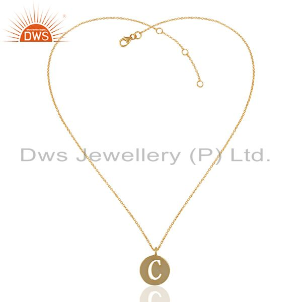 Supplier of 14K Yellow Gold Plated 925 Sterling Silver C Alphabet Chain Pendant Jewelry