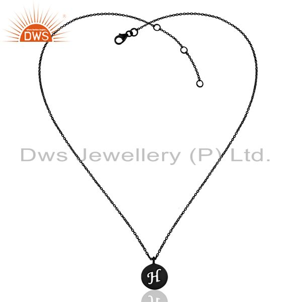 Exporter Black Oxidized 925 Sterling Silver H Alphabet Chain Pendant Jewelry