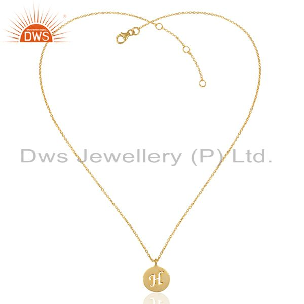 Exporter 14K Yellow Gold Plated 925 Sterling Silver H Alphabet Chain Pendant Jewelry