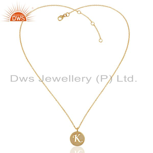 Exporter 14K Yellow Gold Plated 925 Sterling Silver K Alphabet Chain Pendant Jewelry