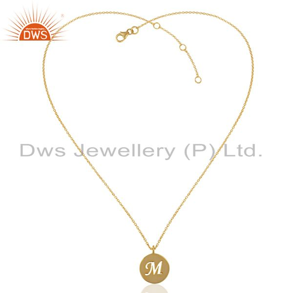 Exporter 14K Yellow Gold Plated 925 Sterling Silver M Alphabet Chain Pendant Jewelry