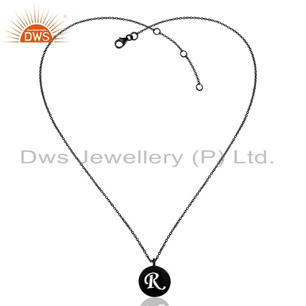 Exporter Black Oxidized 925 Sterling Silver R Alphabet Chain Link Pendant Jewelry