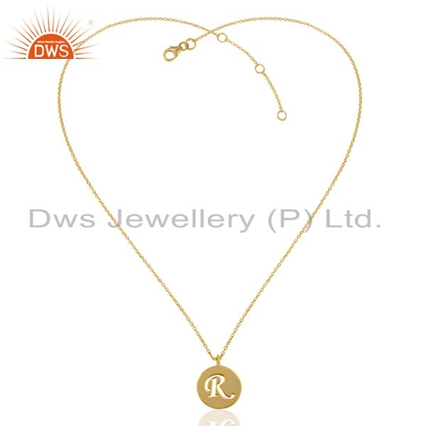 Exporter 14K Yellow Gold Plated 925 Sterling Silver R Alphabet Chain Pendant Jewelry