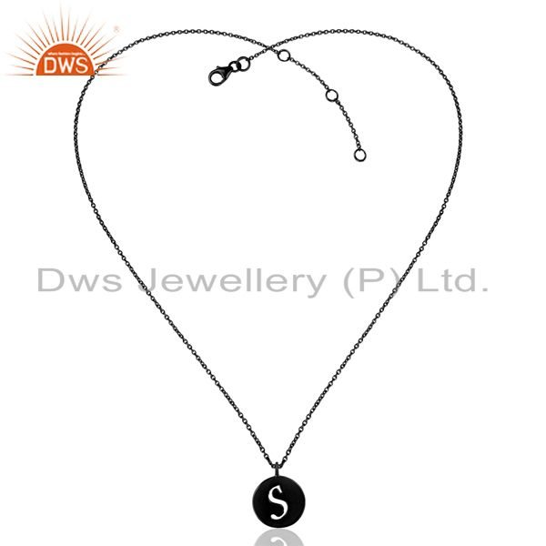 Exporter Black Oxidized 925 Sterling Silver S Alphabet Chain Link Pendant Jewelry