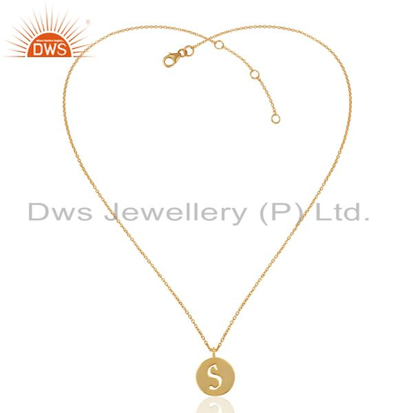 Exporter 14K Yellow Gold Plated 925 Sterling Silver S Alphabet Chain Pendant Jewelry