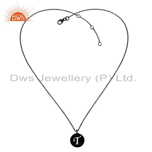 Exporter Black Oxidized 925 Sterling Silver T Alphabet Chain Link Pendant Jewelry