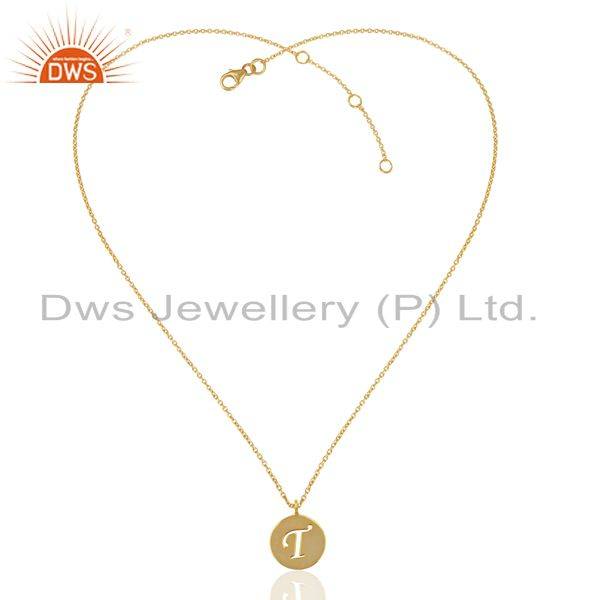Exporter 14K Yellow Gold Plated 925 Sterling Silver T Alphabet Chain Pendant Jewelry