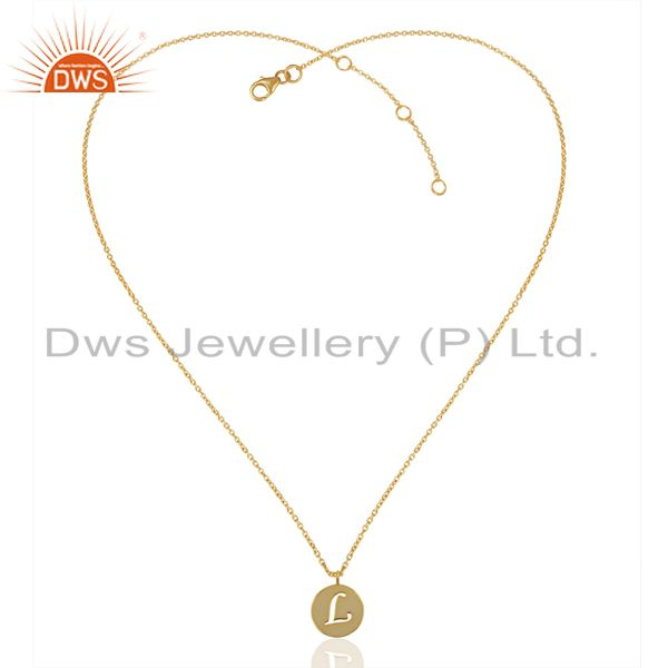 Exporter 14K Yellow Gold Plated 925 Sterling Silver L Alphabet Chain Pendant Jewelry