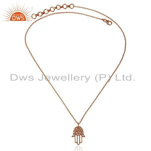 Exporter Rose Gold Plated Hamsa Charm Silver Chain Pendant Jewelry Supplier