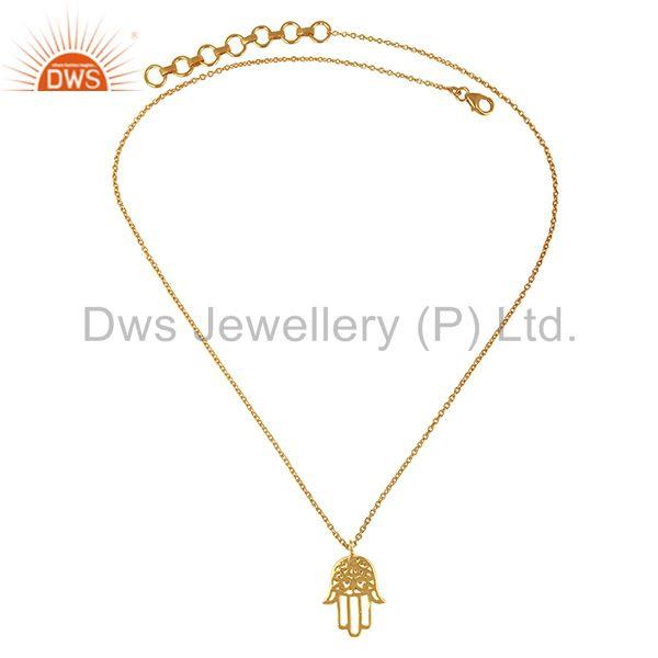 Exporter 925 Silver Gold Plated Hand Hamsa Charm Pendant With Chain Wholesale